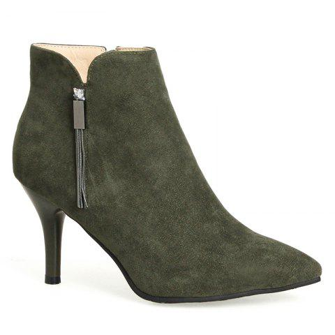 Side Zip Pointed Toe Stiletto Heel Boots - ARMY GREEN 36