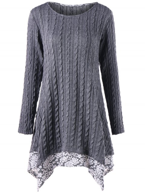 Floral Trimmed Cable Knitted Asymmetric Dress - GRAY 2XL