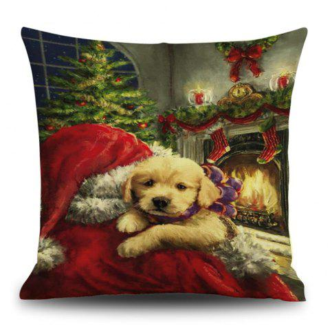 Christmas Dog Fireplace Print Decorative Linen Pillowcase - COLORMIX 45*45CM