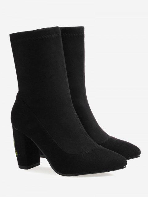 Flower Embroidery Chunky Heel Boots - BLACK 41