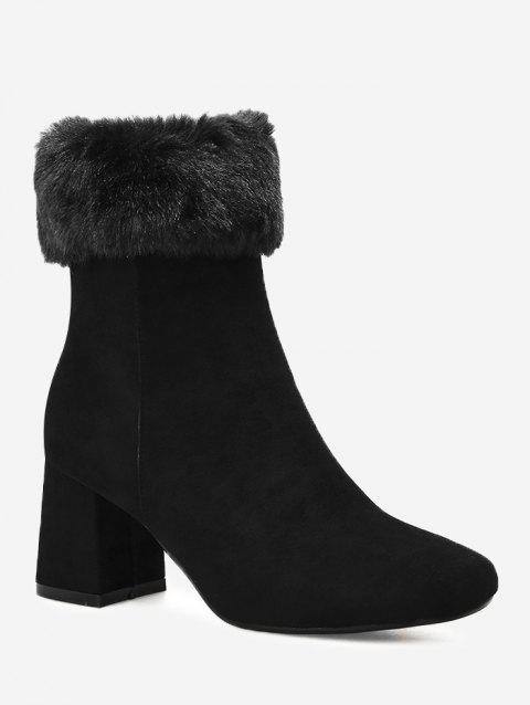 Fold Over Chunky Heel Mid Calf Boots - BLACK 39