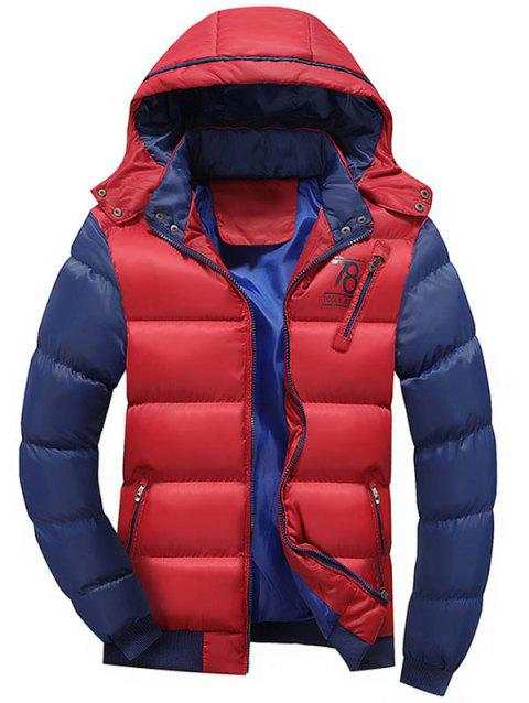 Color Block Detachable Hood Puffer Jacket - RED XL