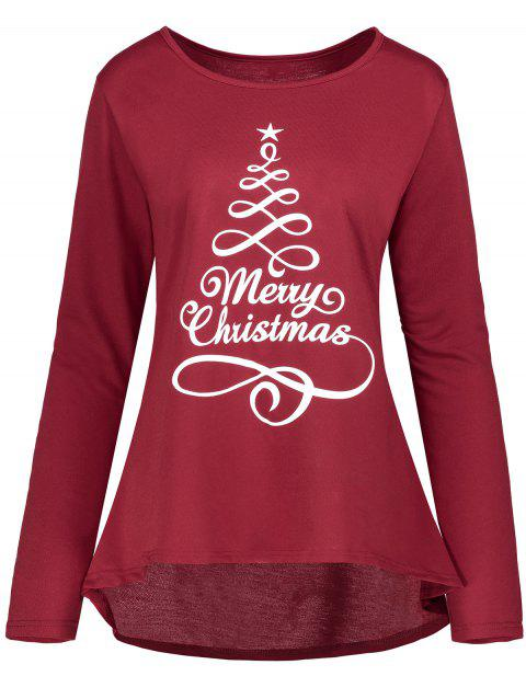 Christmas Star Print High Low Plus Size T-shirt - WINE RED 2XL
