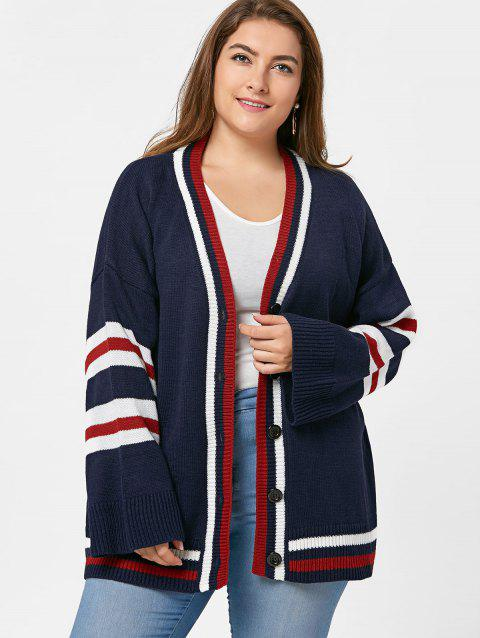 Button Up Plus Size Stripe Tunic Cardigan - PURPLISH BLUE ONE SIZE