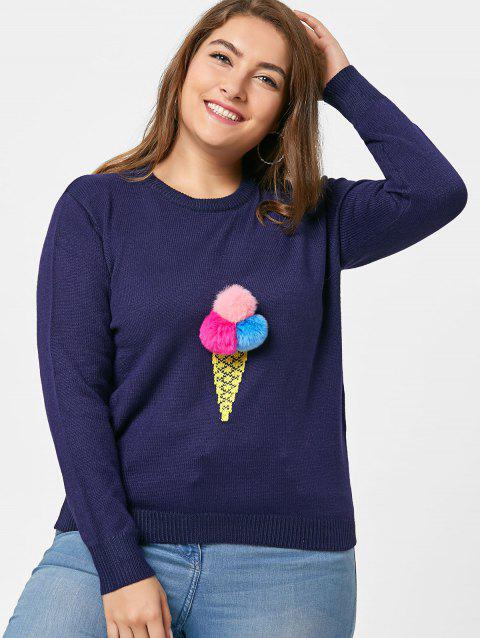 Embroidered Crew Neck Plus Size Sweater - BLUE 5XL