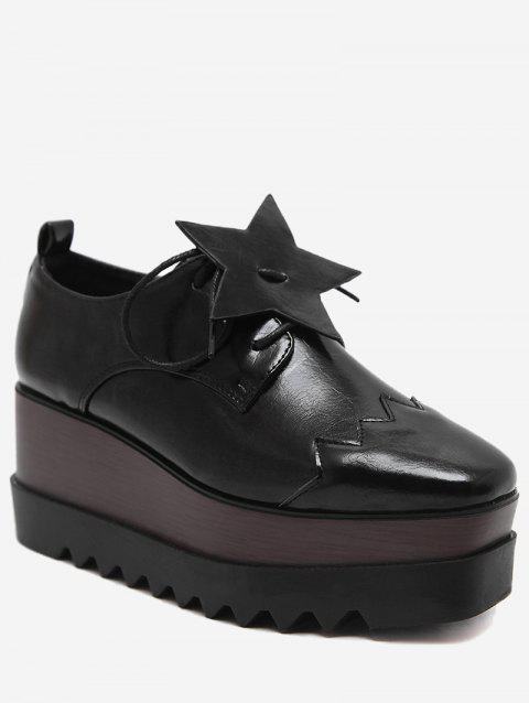Pentagram Line Platform Shoes - BLACK 38