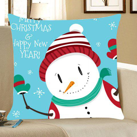 Snowman Merry Christmas Happy New Year Pillowcase - COLORFUL W18 INCH * L18 INCH
