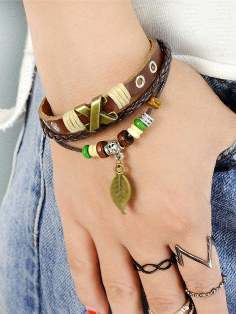 Faux Leather Wooden Beads Leaf Charm Bracelet - BROWN