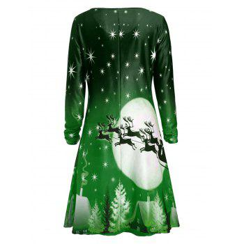Christmas Deer Long Sleeve Dress - GREEN L