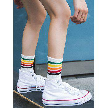 Colorful Stripe Tube Socks - WHITE WHITE