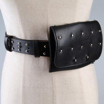 Mini Rivet Bag Embellished Faux Leather Waist Belt - BLACK