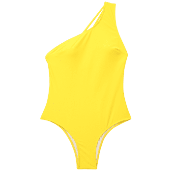 One-Shoulder Strappy One-Piece Swimwear - YELLOW M