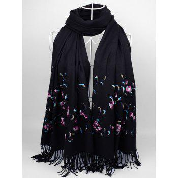 Floral Embroidery Faux Wool Long Scarf - BLACK BLACK