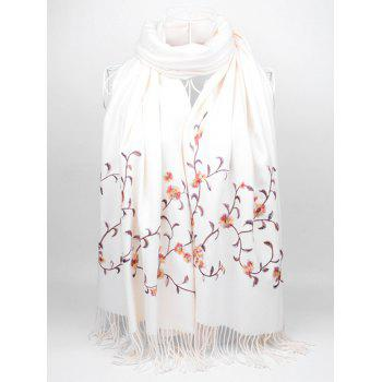 Floral Embroidery Faux Wool Long Scarf - WHITE WHITE
