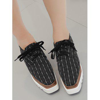 Plaid Square Toe Platform Shoes - BLACK 39