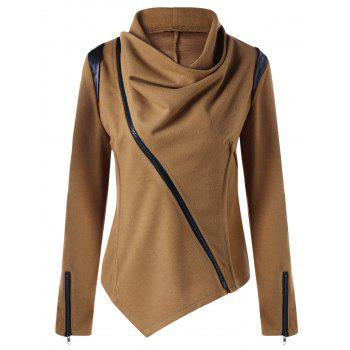 Cowl Neck Zip Cuff Asymmetrical Jacket - CAMEL M