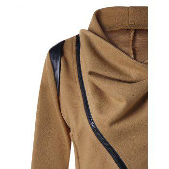 Cowl Neck Zip Cuff Asymmetrical Jacket - M M