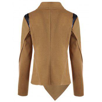 Cowl Neck Zip Cuff Asymmetrical Jacket - CAMEL L