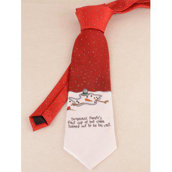 Letter Printed 8CM Width Christmas Neck Tie - WINE RED