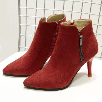Side Zip Pointed Toe Stiletto Heel Boots - RED 36