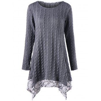 Floral Trimmed Cable Knitted Asymmetric Dress - GRAY GRAY