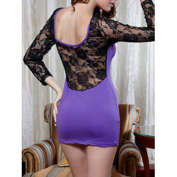 Lace Sheer Sleeve Bodycon Dress - PURPLE PURPLE
