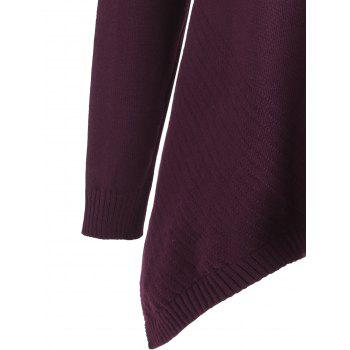 Plus Size Long Slit Asymmetric Sweater - WINE RED 3XL