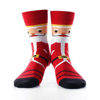 Santa Claus Printed Crew Socks - RED RED