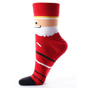 Santa Claus Printed Crew Socks -  RED