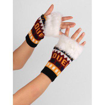 Love and Heart Embellished Kintted Fingerless Gloves - BLACK RED BLACK RED