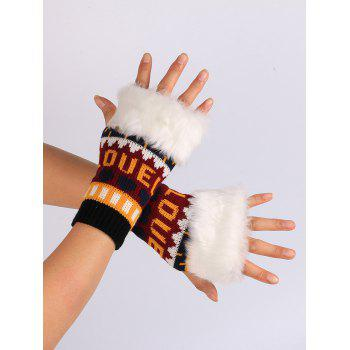 Love and Heart Embellished Kintted Fingerless Gloves -  BLACK RED