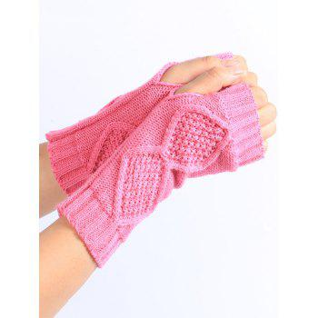 Rhombus Stripe Crochet Exposed Finger Knitted Gloves -  PINK