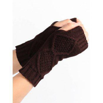 Rhombus Stripe Crochet Exposed Finger Knitted Gloves - COFFEE COFFEE