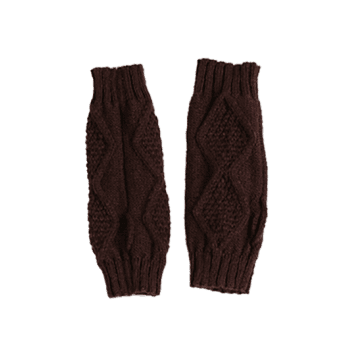 Rhombus Stripe Crochet Exposed Finger Knitted Gloves -  COFFEE