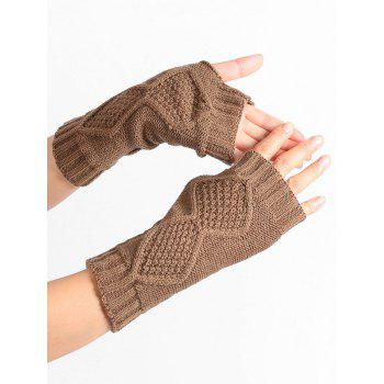 Rhombus Stripe Crochet Exposed Finger Knitted Gloves - KHAKI