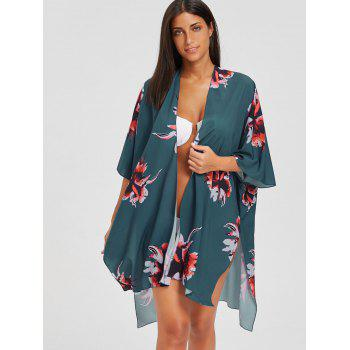 Asymmetric Flower Print Slit Kimono Cover-Up - BLUE GREEN BLUE GREEN