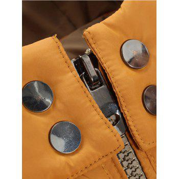 Color Block Detachable Hood Puffer Jacket - YELLOW XL