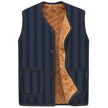 Button Up Pockets Flocking Padded Vest - PURPLISH BLUE PURPLISH BLUE