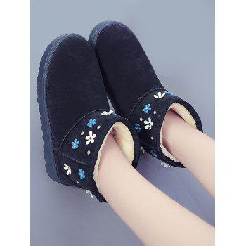 Rhinestone Flower Ankle Snow Boots - BLUE 38