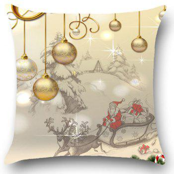 Christmas Balls Patterned Linen Throw Pillow Case - LIGHT GOLD W18 INCH * L18 INCH