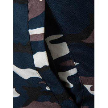 Zip Up Faux Fur Hooded Camo Coat - PURPLISH BLUE 3XL