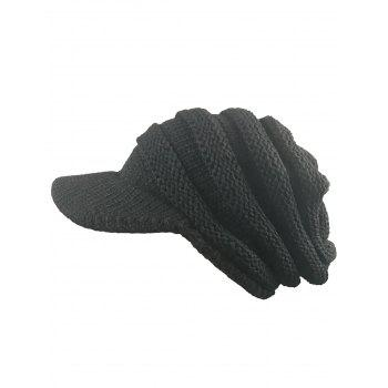 Outdoor Striped Pattern Ribbed Knit Beanie Hat