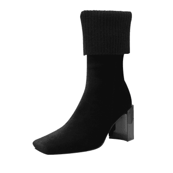 Fold Over Square Toe Block Heel Boots - BLACK 38