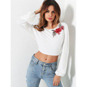 Open Back Embroidery Crop Top - WHITE S