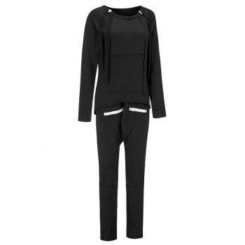 High Low Sweatshirt and Drawstring Pants - BLACK M
