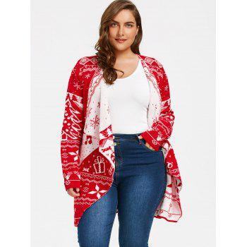 Plus Size Draped Cardigan with Christmas Element - RED 2XL