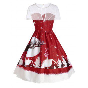 Santa Claus Deer Christmas Vintage Dress - DARK RED 2XL