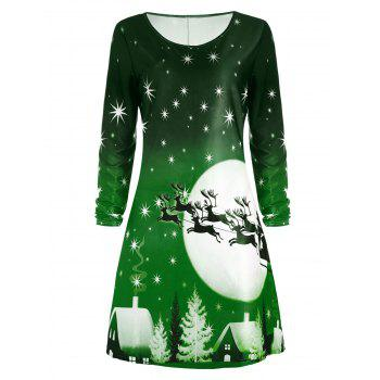 Christmas Deer Long Sleeve Dress - GREEN GREEN