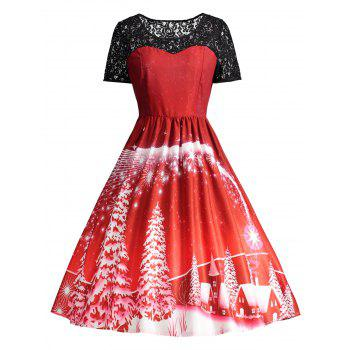 Ugly Christmas Party Lace Panel Vintage Dress