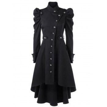 Puff Shoulder Button Up Dip Hem Trench Coat